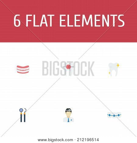 Flat Icons Cleaned, Artificial Teeth, Orthodontist And Other Vector Elements