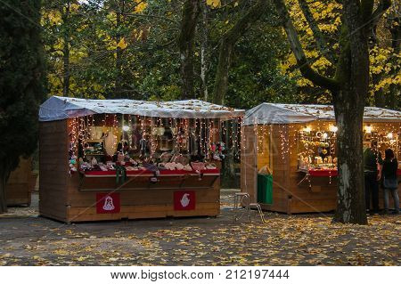 CHIANCIANO TERME, ITALY - NOVEMBER 4, 2017: Beautiful Christmas market in the Acqua Santa Park of Chianciano Terme in the autumn season