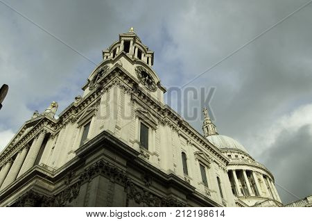 Saint Pauls Cathedral Dome in London, sky background