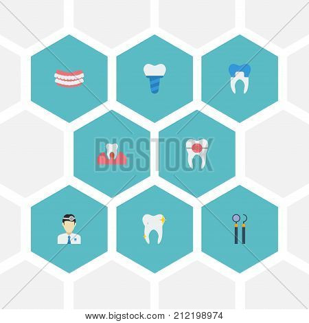 Flat Icons Cleaned, Orthodontist, Gingivitis And Other Vector Elements