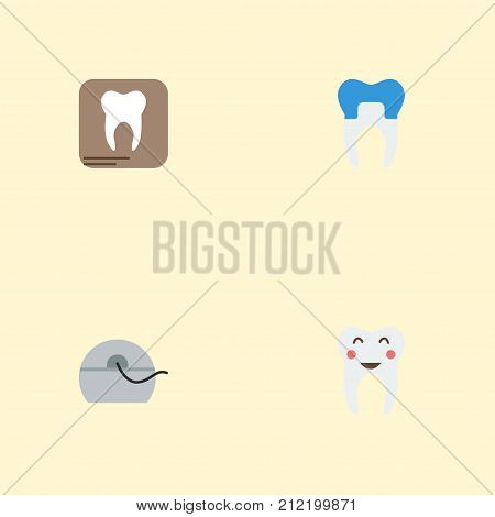 Flat Icons Enamel, Dental Crown, Halitosis And Other Vector Elements