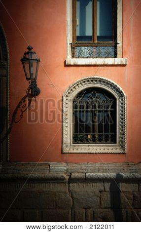 Wall, Windows And Lamp, Venice, Italy
