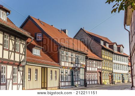 Colorful Street With Half-timbered Houses In Wernigerode