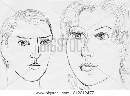 The collective image of European man and woman.