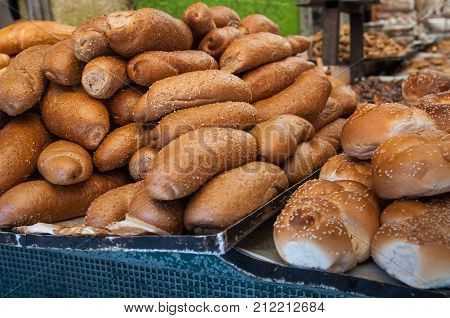 Fresh Bread Rolls An Small Challah For Sale At Mahane Yehuda Market, Popular Marketplace In Jerusale