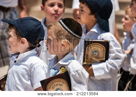 Religious Jewish Boys Near To Western Wall In Jerusalem, Israel