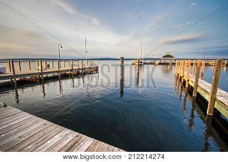 Coastal Harbor Marina Background. Marina and harbor of the Great Lakes coastal town of Petoskey Michigan. Petoskey is a popular resort town in the Lower Peninsula of Michigan.