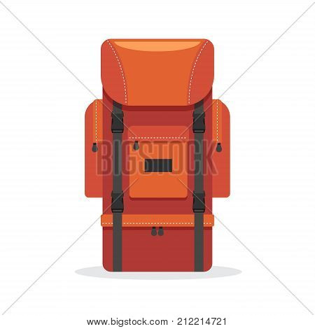 Tourist backpack red color with two extra pockets. Outfit of traveler. Hiking travel. Vector illustration. Flat style.