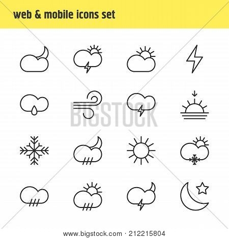 Editable Pack Of Cloud, Sunrise, Windstorm And Other Elements.  Vector Illustration Of 16 Weather Icons.