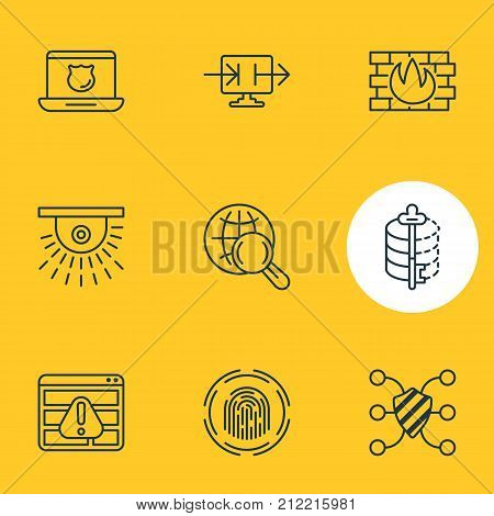 Editable Pack Of Encoder, Safeguard, Finger Identifier And Other Elements.  Vector Illustration Of 9 Security Icons.