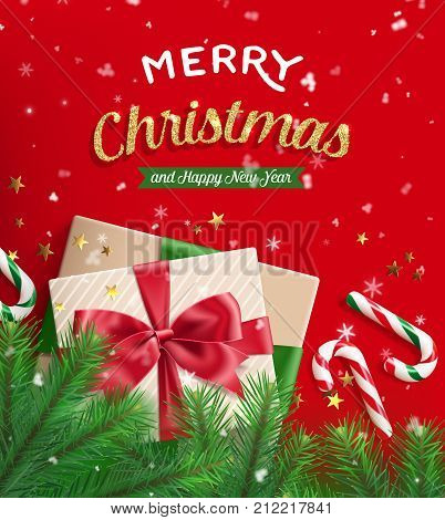 Merry christmas and happy new year greeting card. Gift box tied with ribbon with red bow knot candy cane fir branches on red with snow and golden stars. Vector illustration.