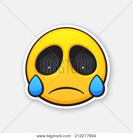 Vector illustration. Emoticon for expressing emotion of sadness, disappointment and crying. Grief or sorrow emoji. Icon for expression of feelings. Sticker with contour. Isolated on white background