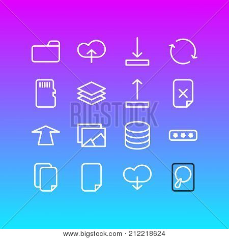 Editable Pack Of Layer, Dossier, Hdd And Other Elements.  Vector Illustration Of 16 Archive Icons.