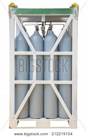 Pressurize container in rack Nitrogen cylinder connect to each other with tubing and pressure gauge isolate on white background with clipping path.