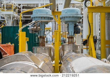 Fail to close type of actuated control valve in oil and gas central processing platform valve connected in parallel to split control method by programmable logic controller (PLC).
