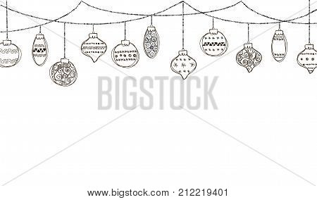 Banner with row of hanging Christmas Baubles isolated on a white background. Outline vector illustration of border with hand drawn ball. Good for party posters, cards, website headers