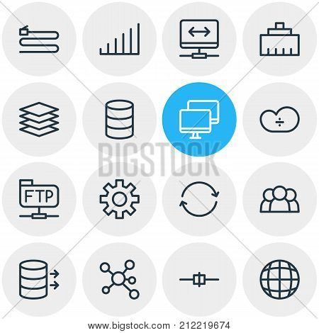 Editable Pack Of Wire, Administrator Tool, Synchronize And Other Elements.  Vector Illustration Of 16 Network Icons.
