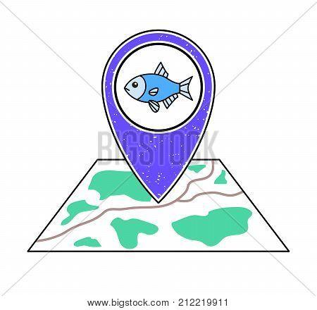 Textured violet geotag pointing at a map blue fish. River lake sea ocean fishing symbol.Pet shop icon.Oceanarium/ aquarium/ zoo location on a city plan.Fish shop market supermarket section sign.