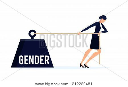 Gender. Business concept of discrimination in a flat style with businesswoman isolated on white background. Businesswoman drags a weight with an inscription gender. Vector illustration.