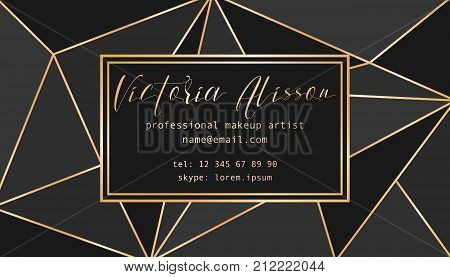 Abstract tirangles low poly business card. Geometric black shapes, gold gradient. Business card template. Makeup artist card template, vector illustration. Business card concept.