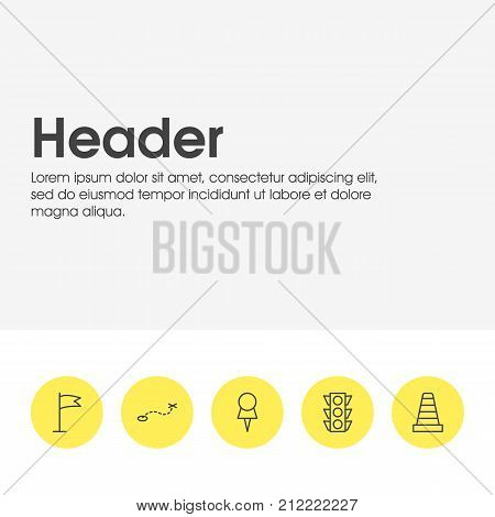 Editable Pack Of Pennant, Path, Caution And Other Elements.  Vector Illustration Of 5 Location Icons.
