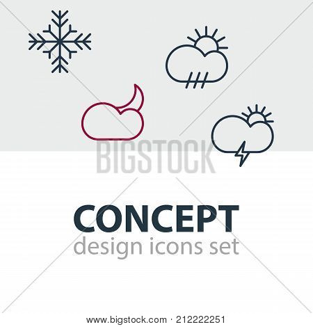 Editable Pack Of Windstorm, Rain, Moon Month And Other Elements.  Vector Illustration Of 4 Sky Icons.