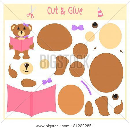 Education paper game for the development of preschool children. Cut parts of the image and glue on the paper. Vector illustration. Use scissors and glue to create the applique. Bear with a book Teddy.