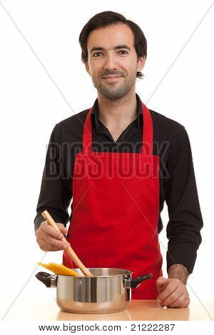 Chef With Pasta Pot