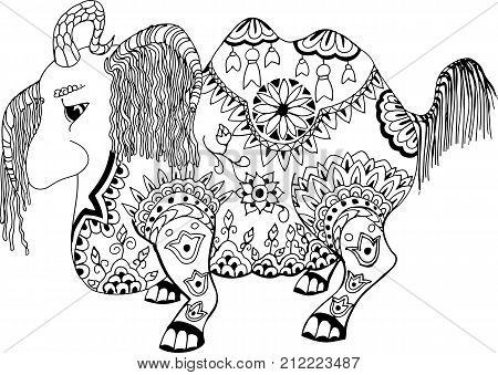 This animal is called Loshara, which drags everything on itself. Hand drawn patterns for coloring. Freehand sketch drawing for adult antistress coloring book in zentangle style.