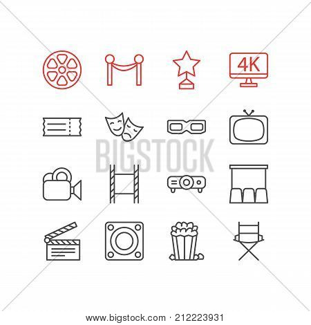 Editable Pack Of Slideshow, Coupon, Loudspeaker And Other Elements.  Vector Illustration Of 16 Movie Icons.