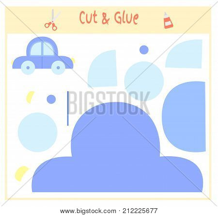 Education paper game for the development of preschool children. Cut parts of the image and glue on the paper. Vector illustration. Use scissors and glue to create the applique. toy car