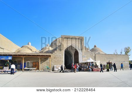 2013 November 11 Ancient bazar brick wall Bukhara Uzbekistan