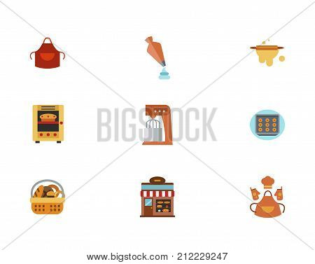 Bakery Icon Set. Welding Apron Pastry Bag Rolling Pin Oven With Pie Kitchen Mixer Bun Sheet Pan Bread Basket Bakery Shop Baker Clothing