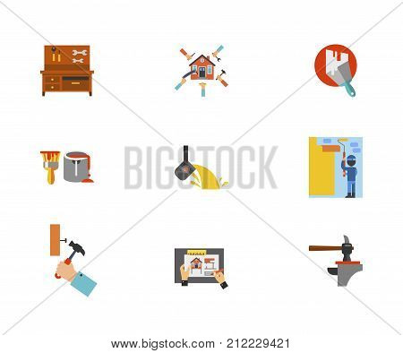 Building Tools Icon Set. Workbench With Tools Renovation Concept Plastered Wall Paint Can And Brush Melting Iron Wall Paint Hammering Nail House Remodeling Hammer And Anvil