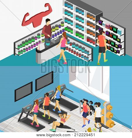Isometric Flat 3D Isolated Vector Cutaway Interior Of Sports Supplements.