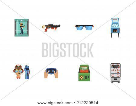 Computer Games Icon Set. Woman In Virtual Reality Room Gun Smart Glasses Pinball Machine Bionic Arm Hands Holding Virtual Reality Headset Basketball Machine Air Hockey Game