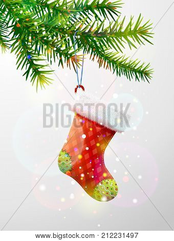 Christmas tree branch with decorative red sock. Empty christmas stocking hanging on pine twig. Best vector image for christmas new years day decoration winter holiday design new years eve
