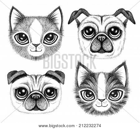 Four sketchy pen drawings of cute dogs and cats with big eyes.