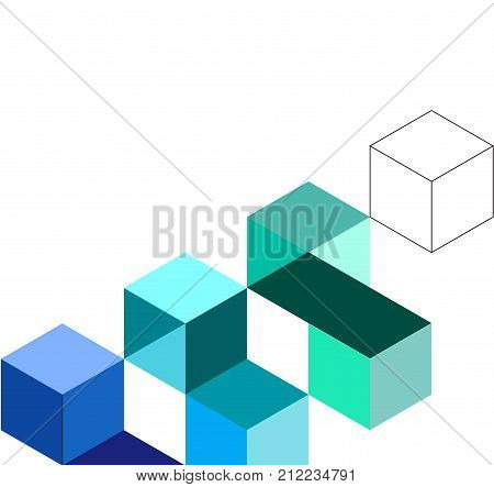 Colorful background with cube modern. abstract cube pattern.