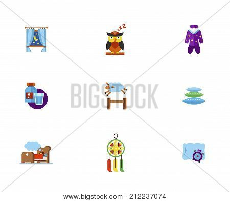 Insomnia Icon Set.Night Behind Window Sleeping Owl Sleeping Clothes Sleeping Aid And Glass Sheep Jumping Over Fence Pillow Heap Little Girl Dreaming In Bed Dream Catcher Alarm Clock And Pillow