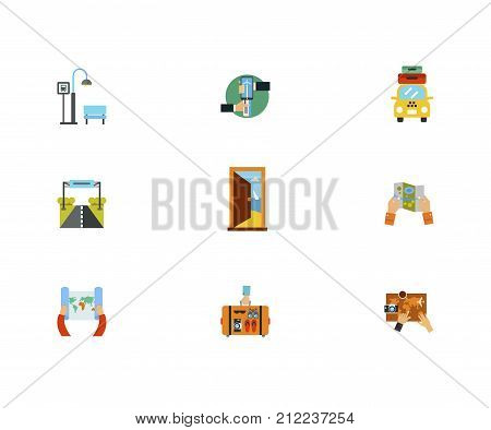 Journey Icon Set.Bus Stop Online Booking Of Airplane Taxi With Suitcases Road Sign Door In Sea Hot Air Balloon Paper Map Hand Holding Suitcase Planning Trip On Map