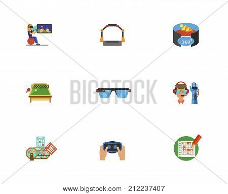 Leisure Activity Icon Set. Woman Gaming Virtual Reality Platform Virtual Reality Room Table Tennis Smart Glasses Bionic Arm Lottery Balls And Tickets Headset Table For Tic Tac Toe
