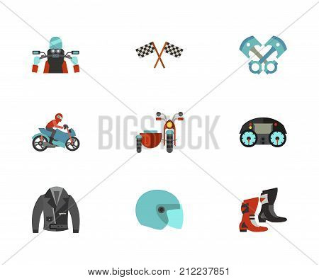 Motorcycling Icon Set. Biker Riding Motorcycling Racing Flag Piston Engine Motorcyclist On Bike Motorcycle With Sidecar Motorcycle Dashboard Leather Jacket Flip Up Helmet Biker Shoes