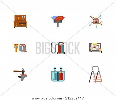 Remodeling Icon Set.Workbench With Tools Spatula For Installation Floor Home Renovation Paint Can Oxy Fuel Welding House Remodeling Hammer And Anvil Galvanization Process Folding Ladder