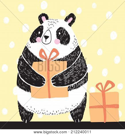 Black and white vector sketch of a Panda holding a birthday present. Vector illustration.