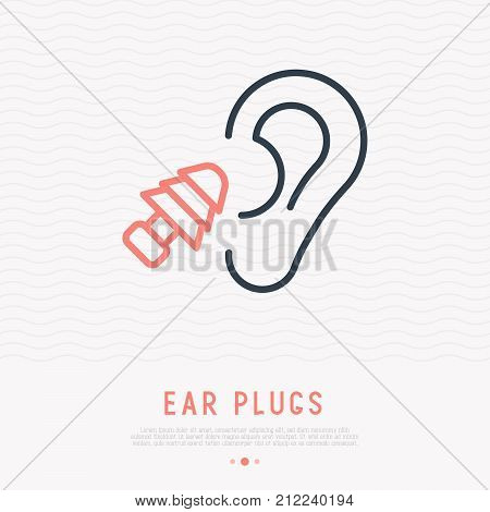 Earplug thin line icon. Modern vector illustration of ear protection.