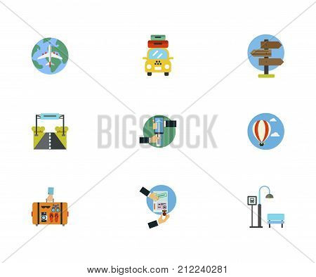 Tourism Icon Set. World Air Tour Taxi With Suitcases Signpost Road Sign Online Booking Of Airplane Tickets Hot Air Balloon Hand Holding Suitcase Visa Bus Stop
