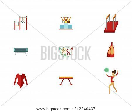 Track And Field Icon Set. Sports Bar Reward For Sports Achievements Parallel Bars Jumping Trampoline Gymnastics Equipment Gymnastics Shoes Leotard Beam Artistic Gymnastics