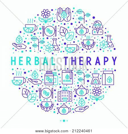 Herbal therapy concept in circle with thin line icons: herbalist, decoction, aromatic oil, oil burner, tea. Vector illustration for banner, web page, print media. poster