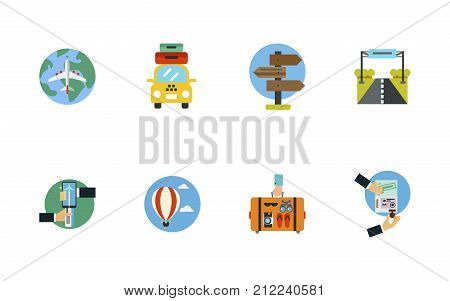 Traveling Around World Icon Set. World Air Tour Taxi With Suitcases Signpost With Arrows Road Sign Online Booking Of Airplane Tickets Hot Air Balloon Hand Holding Suitcase Visa